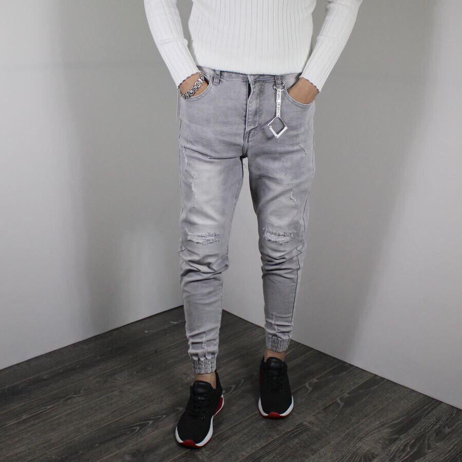 quần jean nam ống côn xám bạc màu, quần jean nam năng động