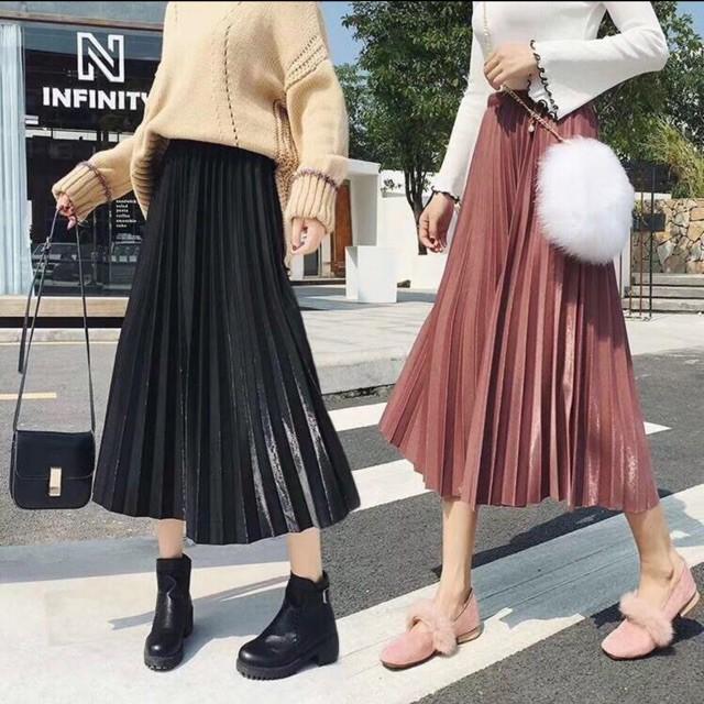Chân váy xếp ly dáng dài ánh nhũ