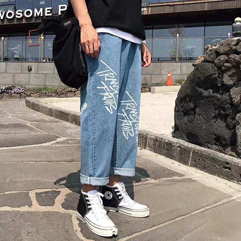 Quần jean dài ống đứng in chữ thời trang cho nam