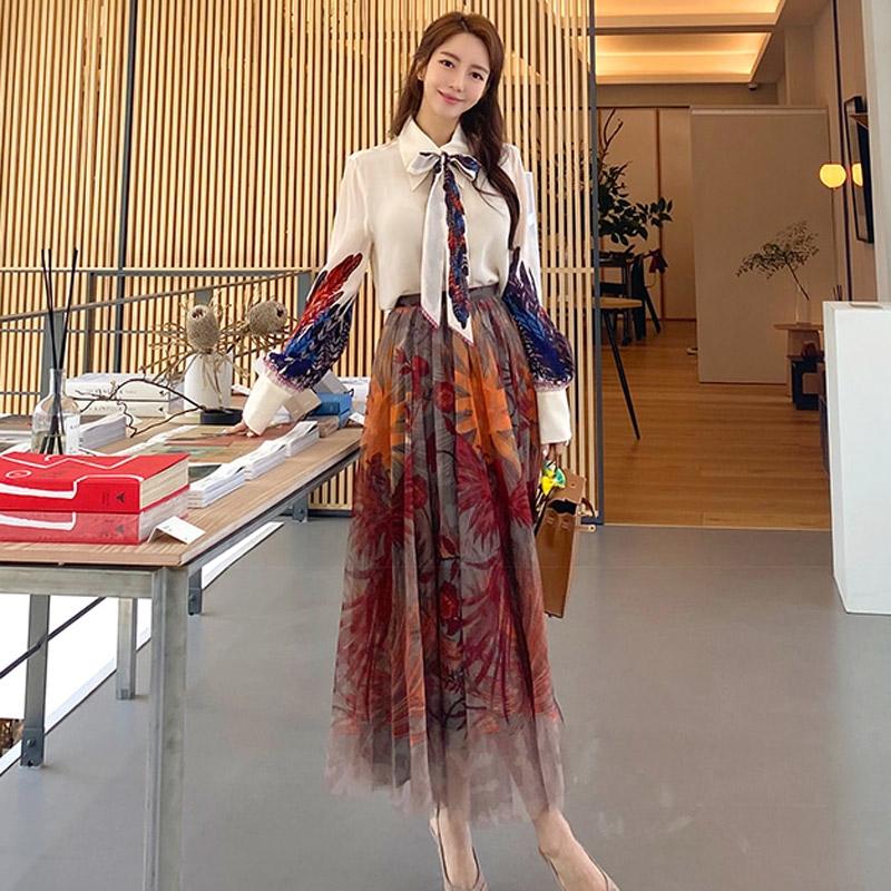 Set Áo Sơ Mi Phối Chân Váy Lưới Thời Trang Nữ Tính