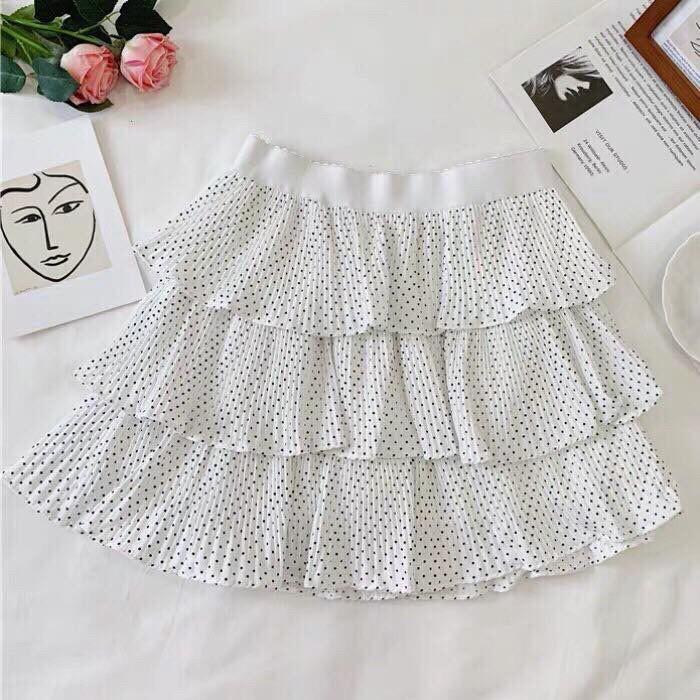 Chân váy ngắn chấm bi 3 tầng (Quảng Châu)