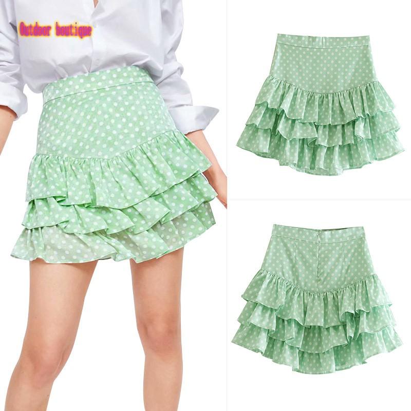 Chân váy lưng cao họa tiết chấm bi thời trang quyến rũ cho nữ
