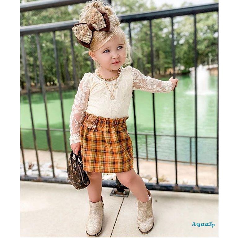 Bộ Áo Dài Tay+Chân Váy Kẻ Sọc Cho Bé Gái (1-6 Tuổi)