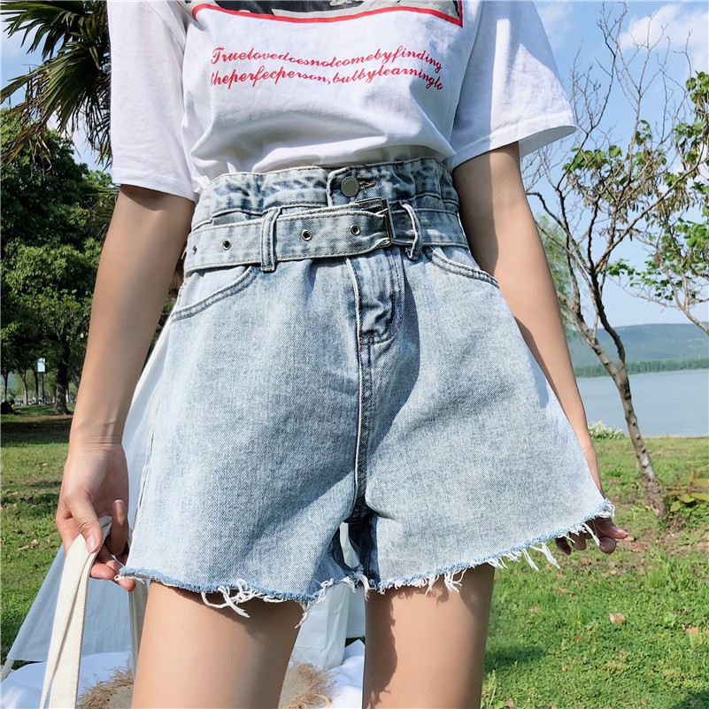 Quần jeans lưng cao chân rộng hàng QC