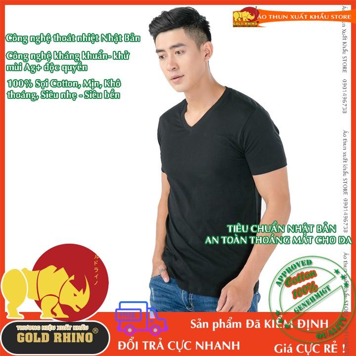 áo thun Nam cổ tim cao cấp hiệu GOLD RHINO màu đen ngắn tay 100% cotton vải mịn thoáng mát kháng khuẩn