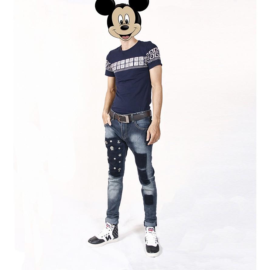 Quần Nam, quần jeans nam đính hạt tròn