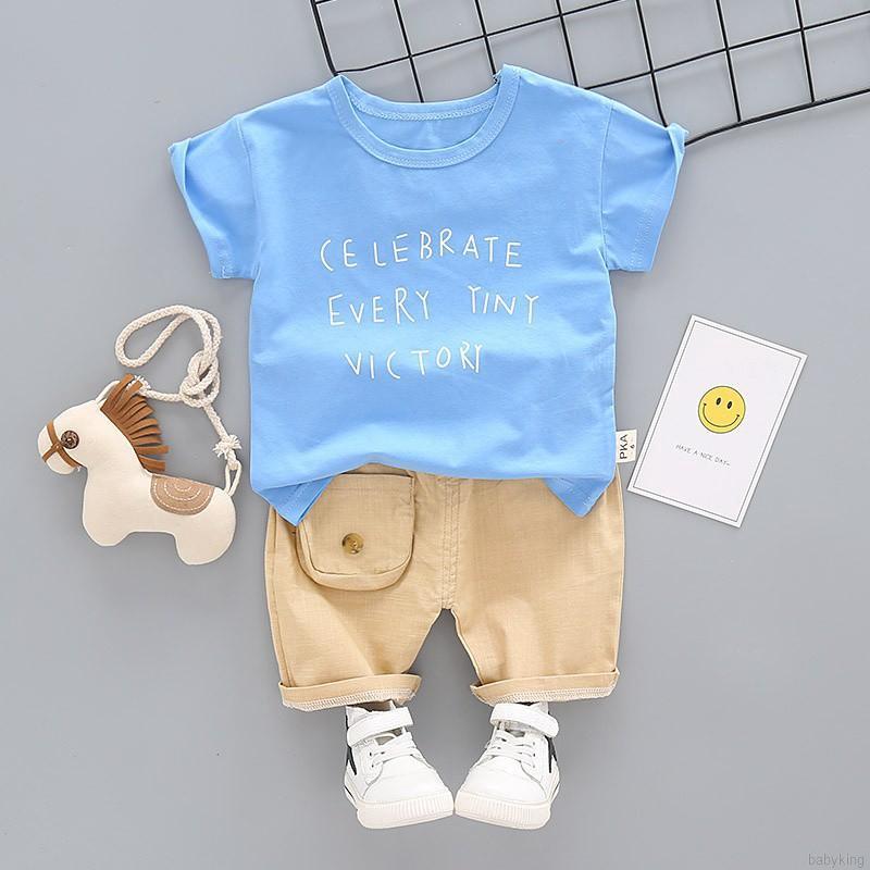 Bộ áo thun ngắn tay in chữ Celebrate Every Tiny Victory + quần thun có túi dành cho các bé
