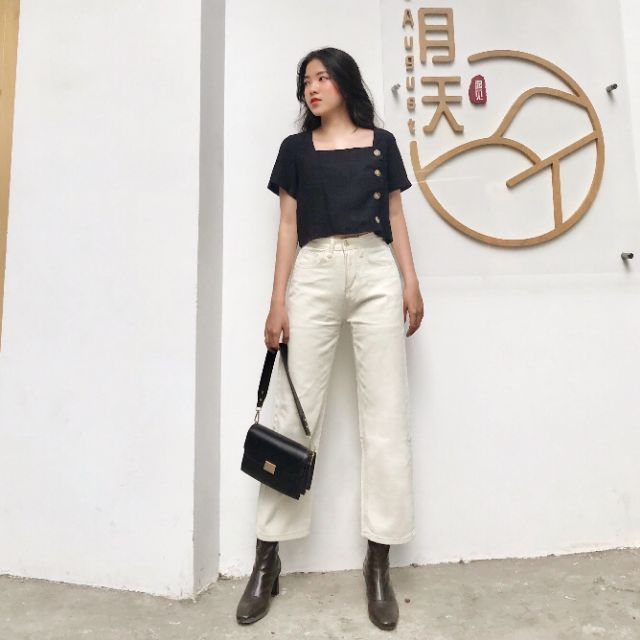 Off-white Momjeans (Quần jeans rộng trắng ngà)