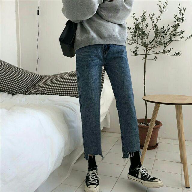 Quần jeans ống đứng rách gấu _ hàng quảng châu