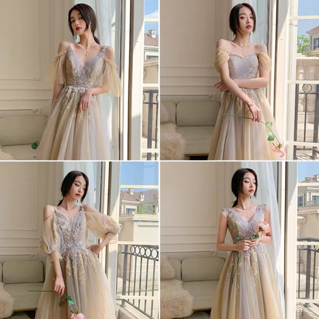 Mẫu mới 2020 đầm dạ hội công chúa dạng ngắn xoè (kèm ảnh thật) Tặng kèm dây buộc tóc