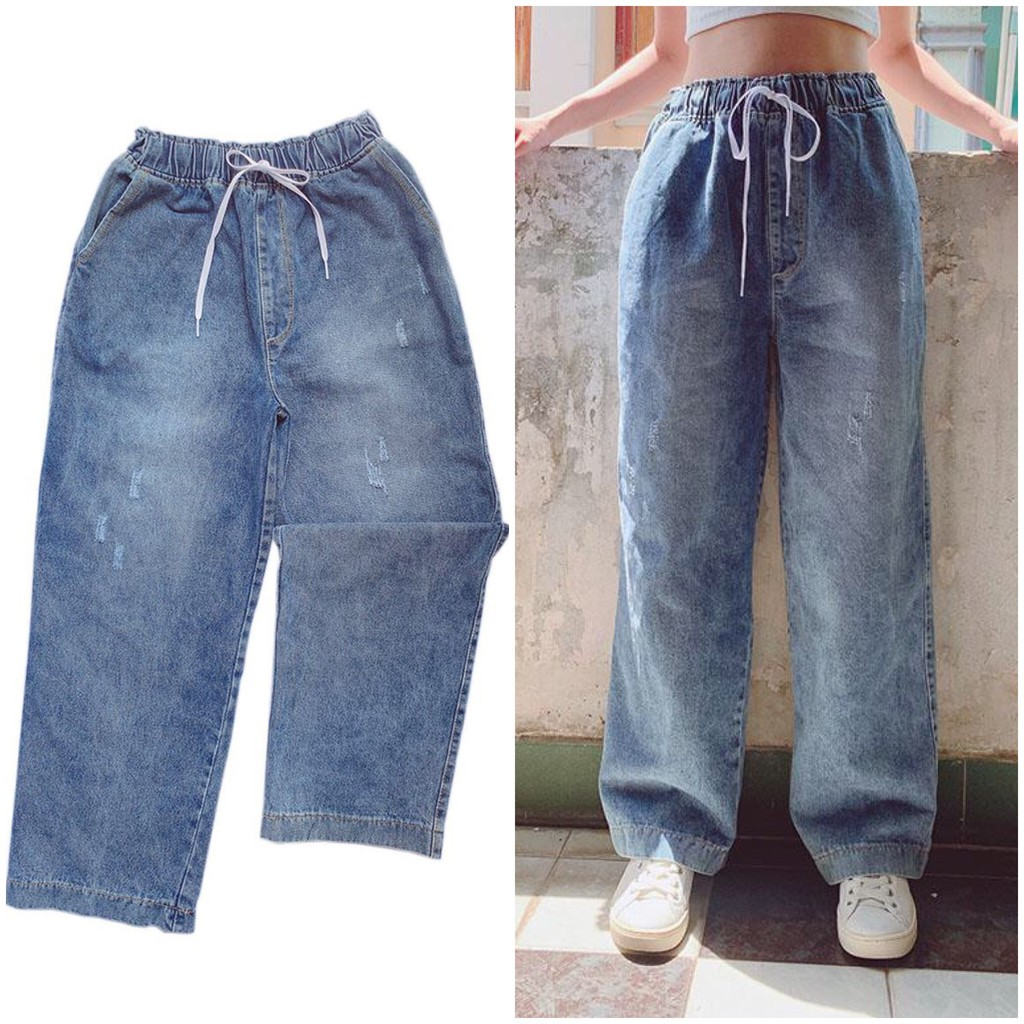 Quần jeans ống rộng nữ style ulzzang lưng cao
