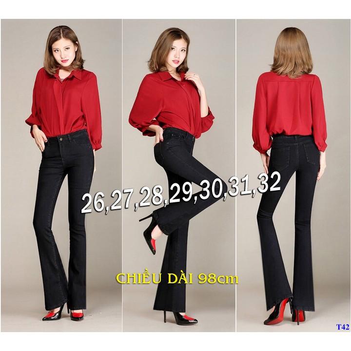 Quần Jeans Nữ Đen Lưng Cao 1 Nút Ống Loe