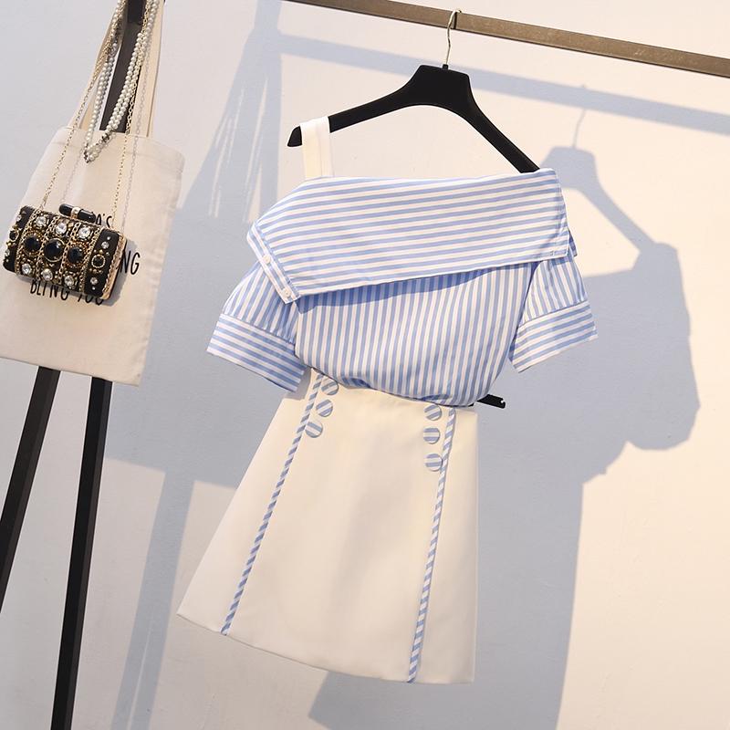 Bộ Áo Kẻ Sọc + Chân Váy Lưng Cao Xinh Xắn Dành Cho Nữ 2020