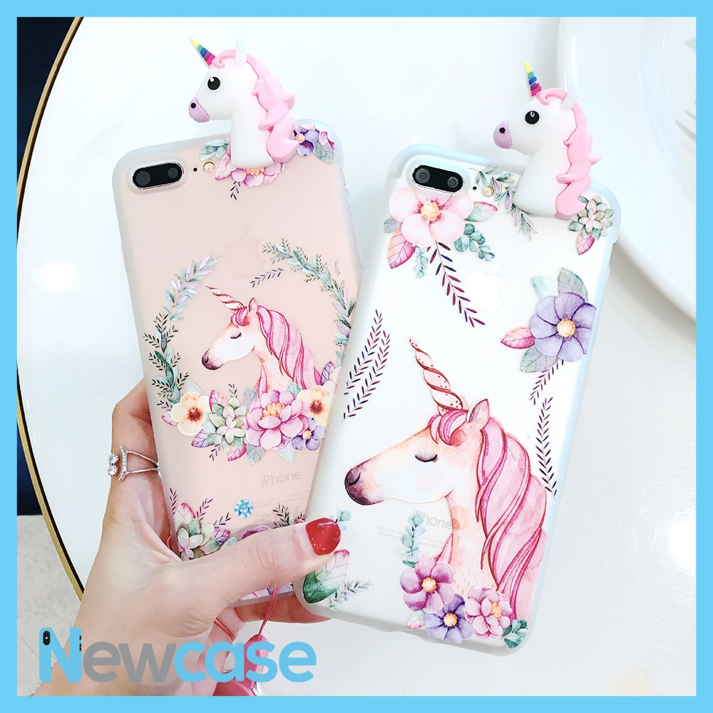 Ốp lưng dẻo họa tiết 3D kỳ lân Unicorn - Iphone 6, 6plus, 7, 7plus, 8, 8plus, X