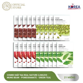 Combo Mặt Nạ Real Nature TheFaceShop (Lingzhi - Mung Bean - Pomegranate - Green Tea) 20G X 21Pcs