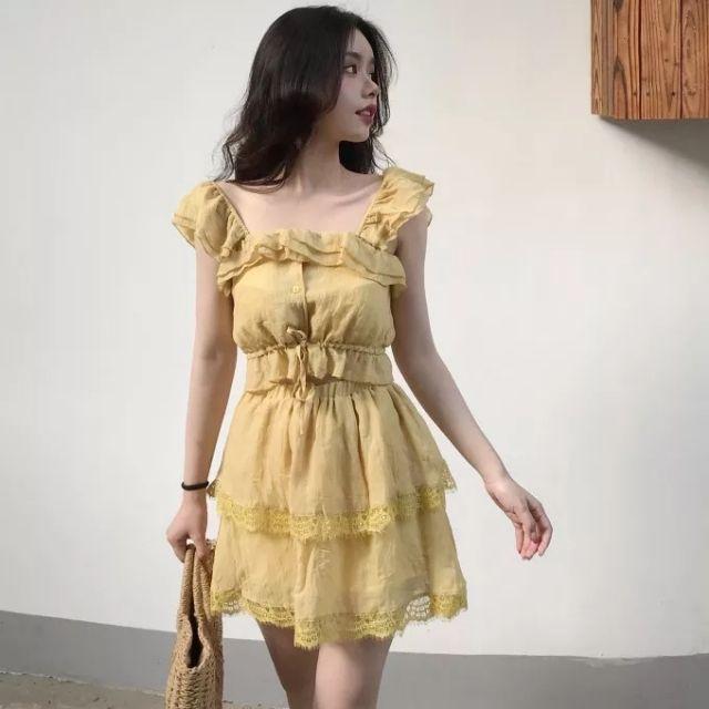 [ORDER+ẢNH THẬT] Set áo 2 dây voan bèo rút eo + chân váy voan tầng phối ren xòe ulzzang siêu xinh phong cách retro ❤