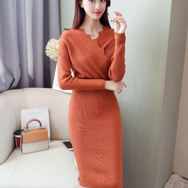 Đầm len ôm gợn sóng hàng nhập Quảng Châu cao cấp