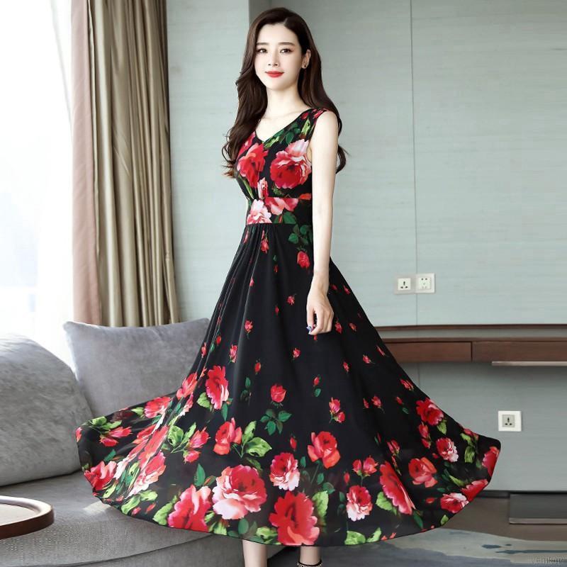 đầm cổ v hoa Waist Floral Sleeveless A-line Skirt Summer V-neck Print Dress