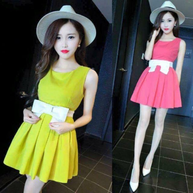 Đầm xòe thiết kế nơ korea(Cao Cấp)