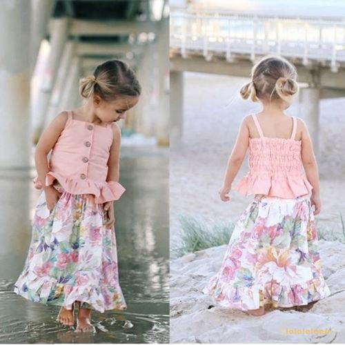 Bộ áo 2 dây + chân váy hoa cho bé gái