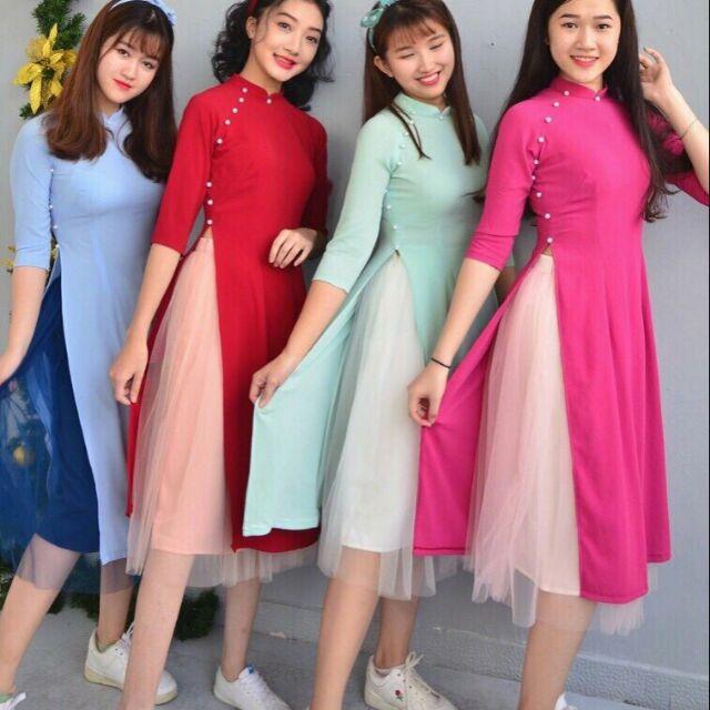 Set Áo Dài Cách Tân Đính Ngọc Trai + Chân váy ren xòe (Kèm Băng Đô)