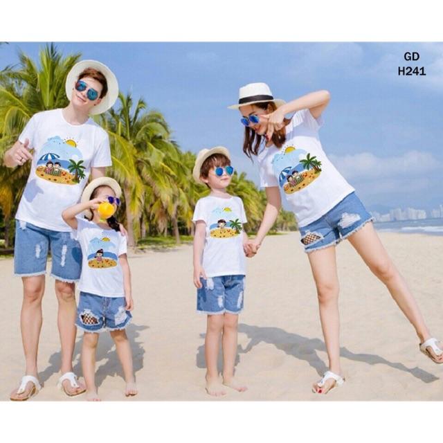 Áo gia đình đi biển chất cotton loại 1 bán shop đủ màu đủ size từ 5-100kg