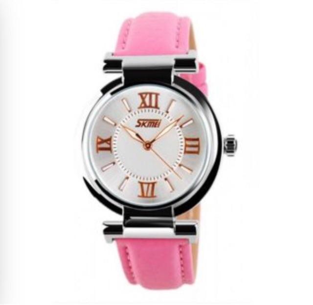 Đồng hồ nữ Skmei 9075 dây da hồng
