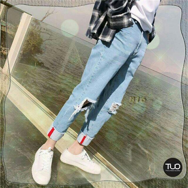 Quần jeans nam rách gối