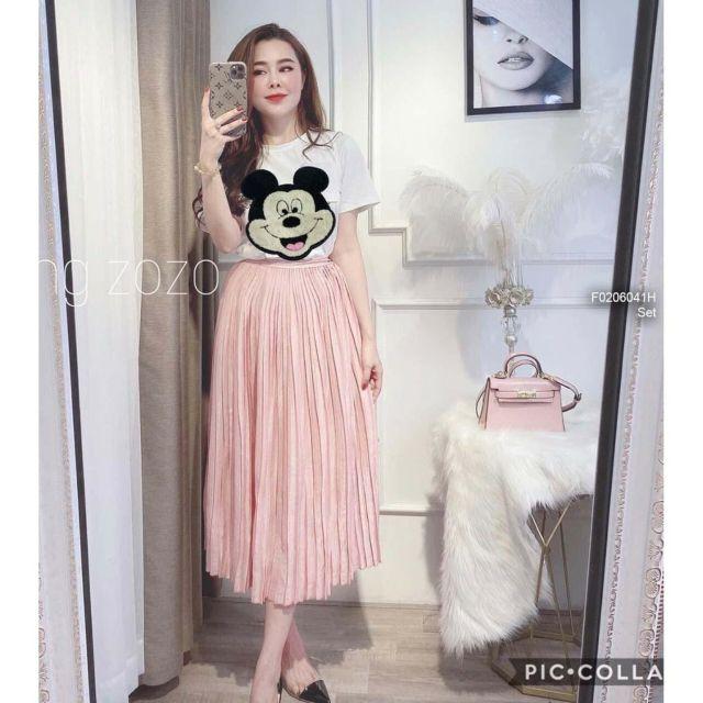 Set váy áo phông miki kèm chân váy xếp li