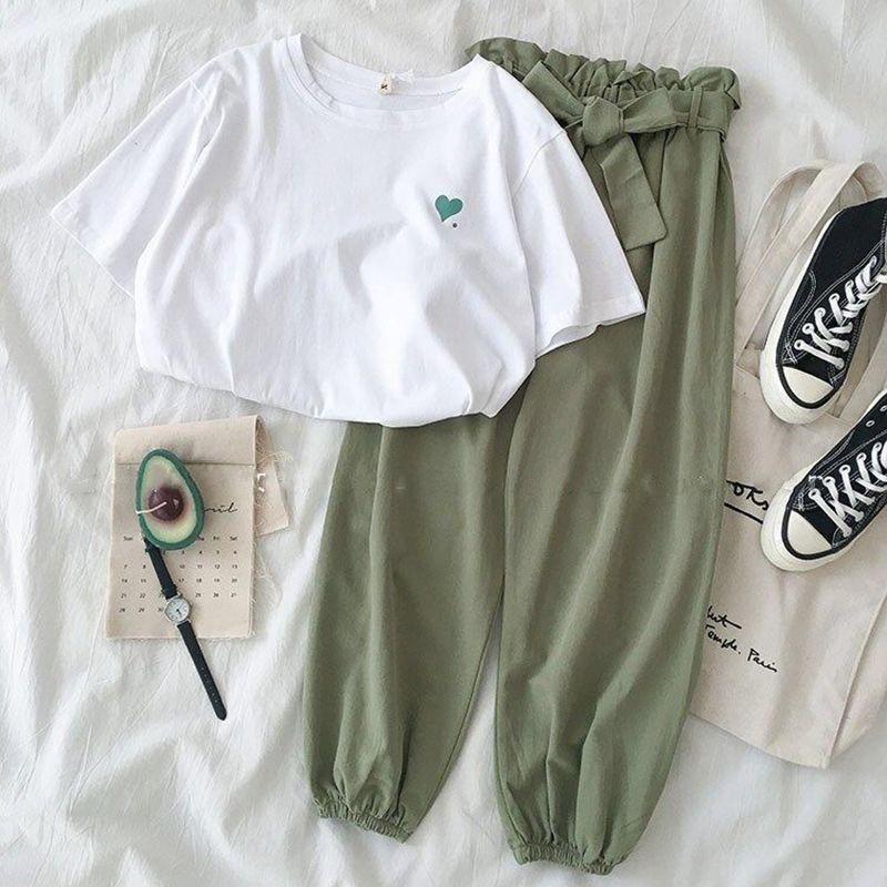 Set áo thun tay ngắn thêu tim, quần dài thiết kế đơn giản cho phái nữ (CÓ SẴN)