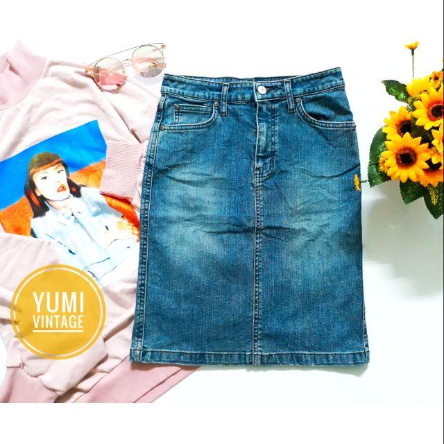 Chân váy jean xanh sáng màu bụi chất dày đẹp
