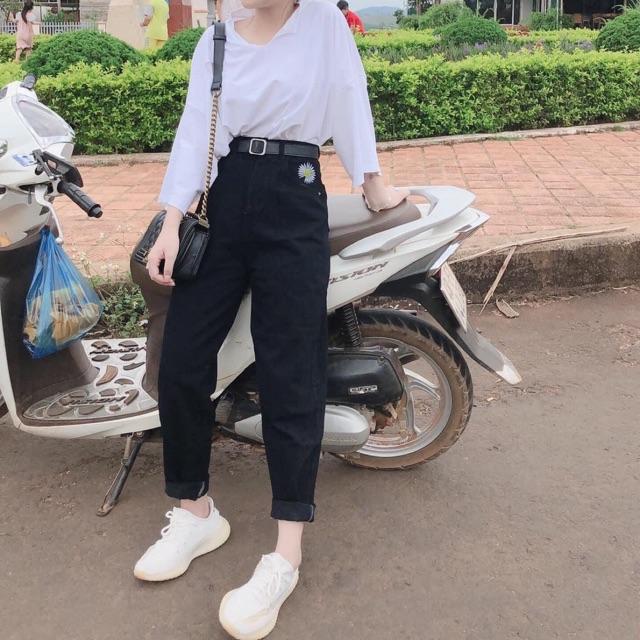 Set quần jeans hoa cúc +áo thun rách