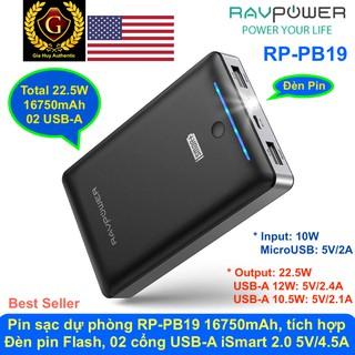 Pin Sạc Dự Phòng RAVPower RP-PB19 16750mAh tích hợp đèn pin Flash