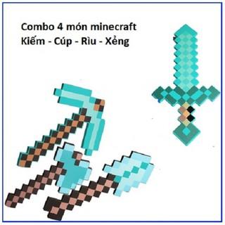 Combo Rìu Kiếm Cuốc Xẻng Minecraft Kim cương