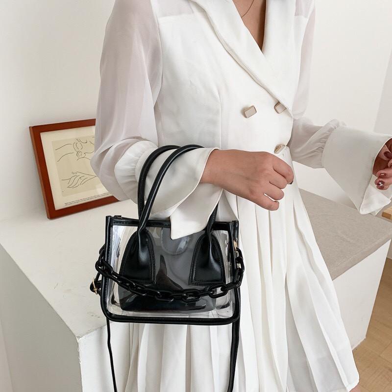 Túi trong suốt phối xích nhựa PVC cao cấp cầm tay đeo chéo thời trang mẫu mới nhất  TSXICH