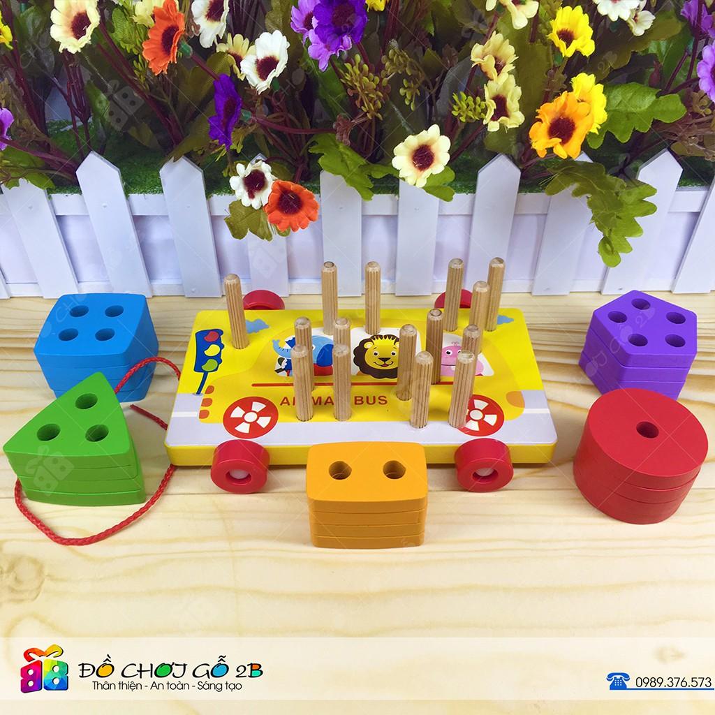Đồ chơi gỗ Bộ thả 5 hình khối dạng xe kéo