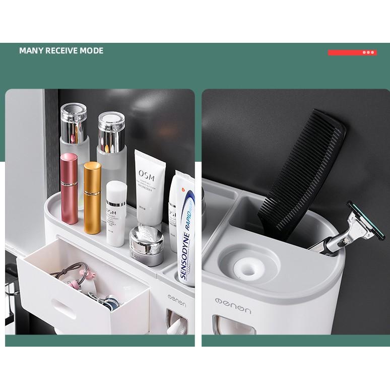 [GIÁ GỐC] Kệ Nhà Tắm Thông Minh OENON Kèm Cốc Hút Từ Tính Bộ Nhả Kem Đánh Răng tự động - asta store