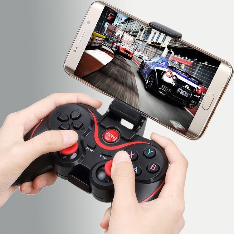Tay Cầm Chơi Game X3/T3 Có Bluetooth Cho Smartphone, PC, Laptop, Android, IOS, Windows Có Giá Kẹp Điện Thoại