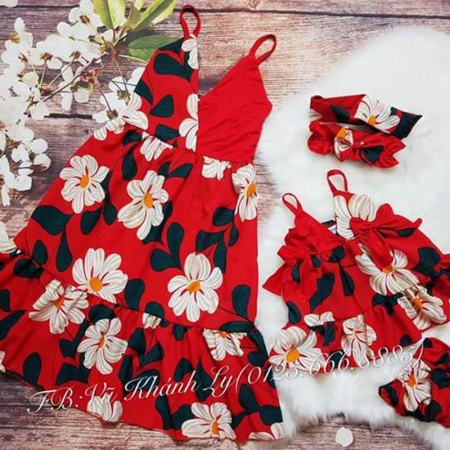 Set váy hoa xinh mẹ và bé cực