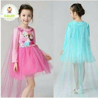 Váy Công Chúa Elsa Dài Tay, Tà Dài Voan Đính Kim Tuyến, Phụ Kiện Loại Đẹp Cho Bé Gái