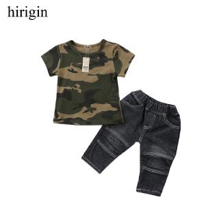 ♟Fashion Newborn Baby T-Shirt Tops Short Sleeve Pants Jeans Outfits Clothes Set