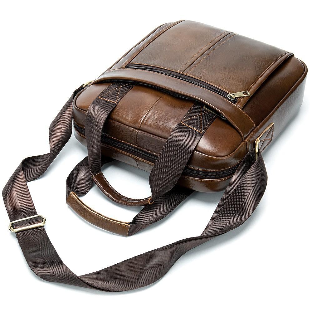 Túi đeo chéo nam da bò cao cấp T27 túi đứng 30.5x26x6cm (Nâu đậm - Nâu sáng - Đen)
