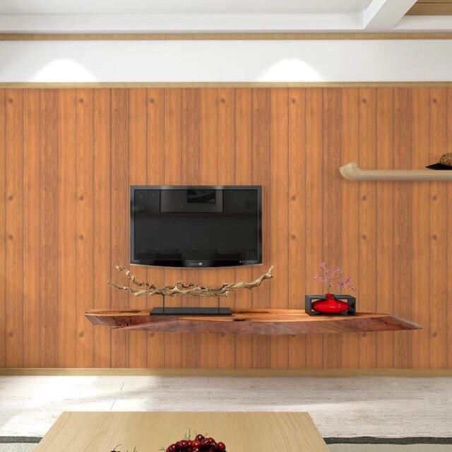 10 mét giấy dán tường giả gỗ nâu khổ rộng 45 cm