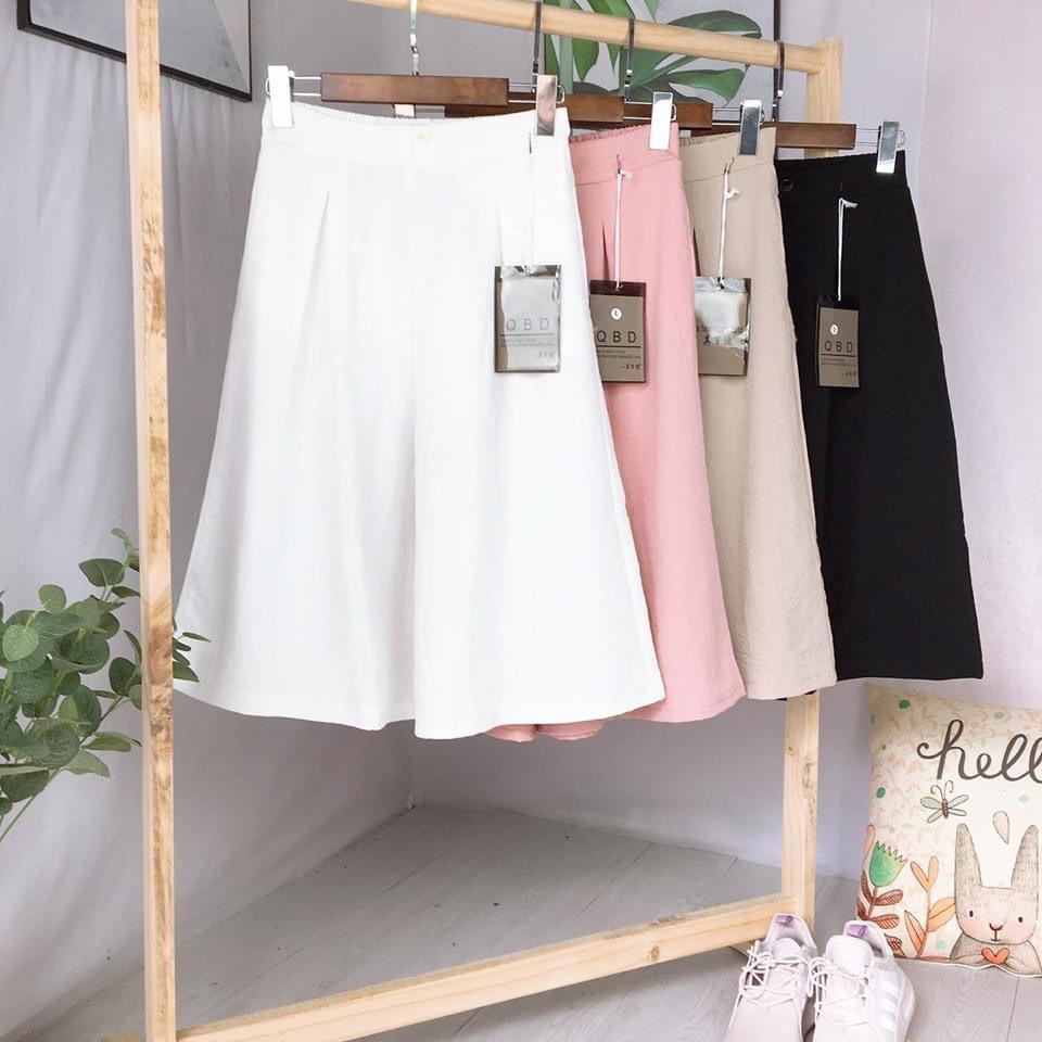 quần ống rộng giả váy lửng chất đũi