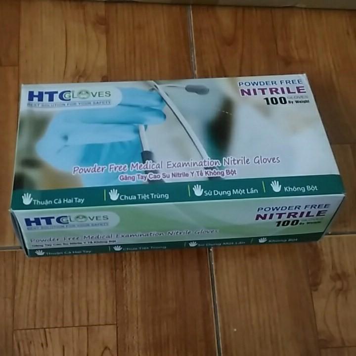 [Mã NOWSHIPVUI1 giảm 25k đơn 50k] Găng Tay ( bao tay ) Cao Su Y Tế Không Bôt HTC Glove hộp 100 cái màu xanh