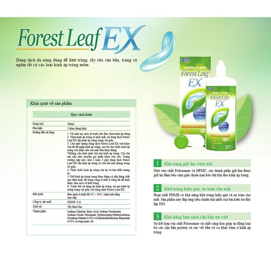Combo 2 Nước ngâm rửa lens kính áp tròng SEED Forest Leaf EX 360ml