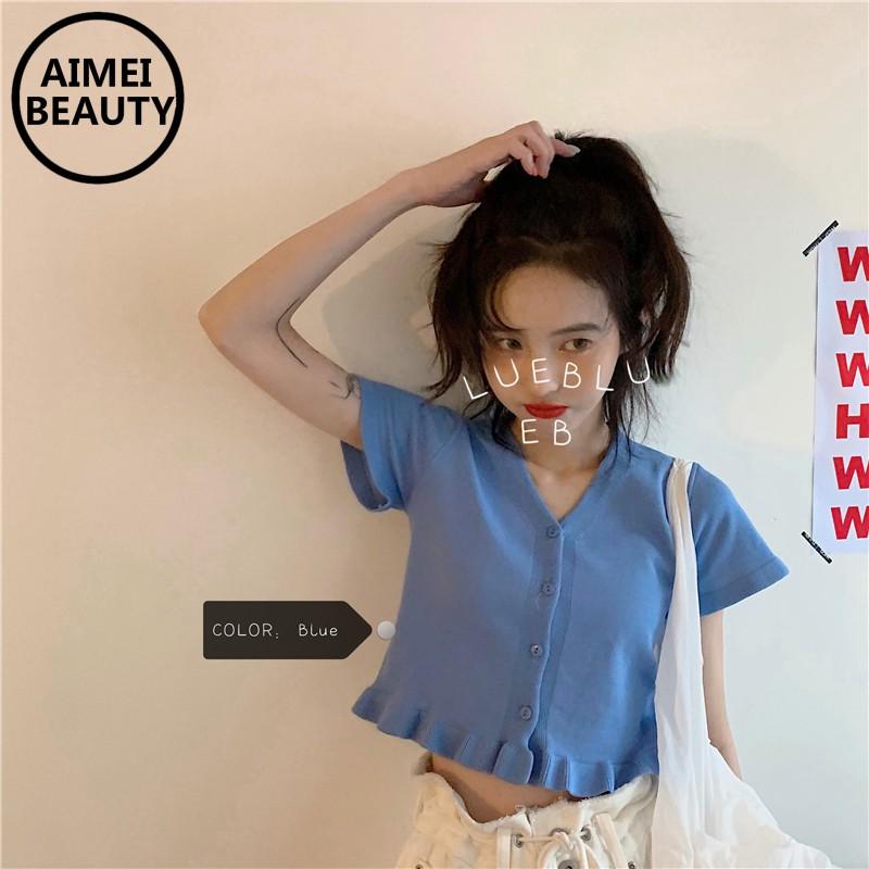 Áo Croptop Dệt Kim Tay Ngắn Cổ Chữ V Màu Trơn Dễ Phối Đồ Cho Nữ