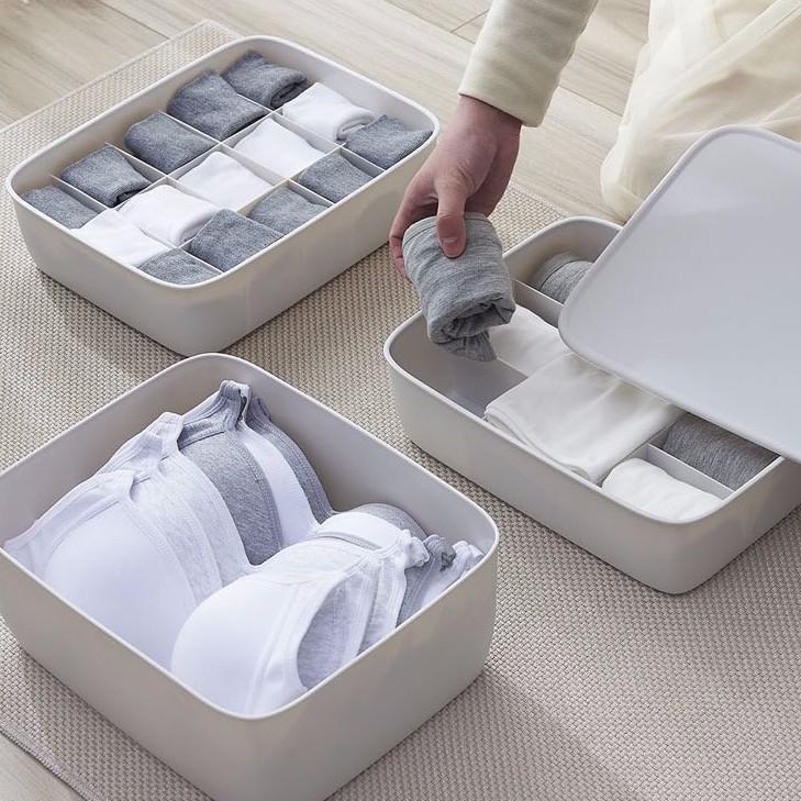 Hộp đựng đồ lót, tất, vớ, khay đựng áo lót, đồ lót gấp gọn bằng nhựa tiết kiệm không gian (chia ngăn tủ)