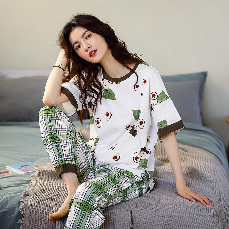Đầm Ngủ Cotton Ngắn Tay Dáng Rộng Xinh Xắn Cho Nữ