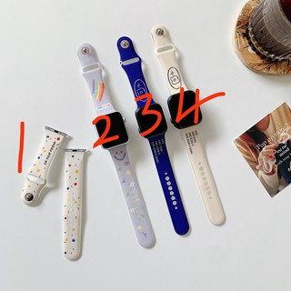 Dây Đeo Họa Tiết Hoa Màu Cầu Vồng Kích Thước 44 / 42mm40 / 38mm Cho Đồng Hồ Apple Watch